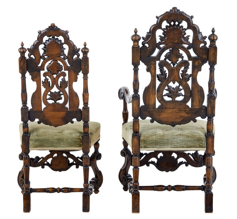 Rare Set of Eight 19th Century Carved Walnut Carolean Design Dining Chairs For Sale 1