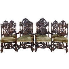 Rare Set of Eight 19th Century Carved Walnut Carolean Design Dining Chairs