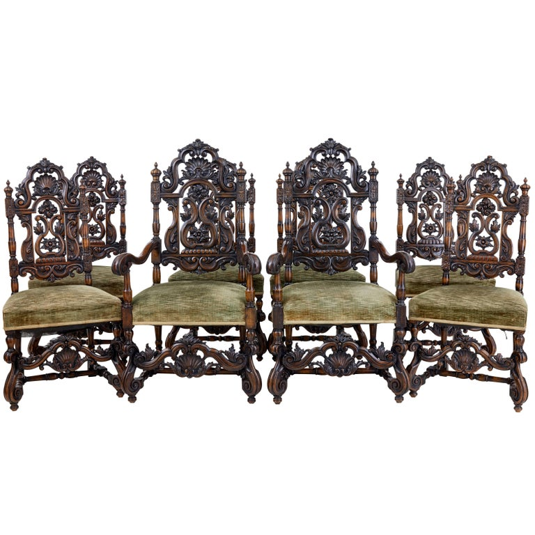 Rare Set of Eight 19th Century Carved Walnut Carolean Design Dining Chairs For Sale
