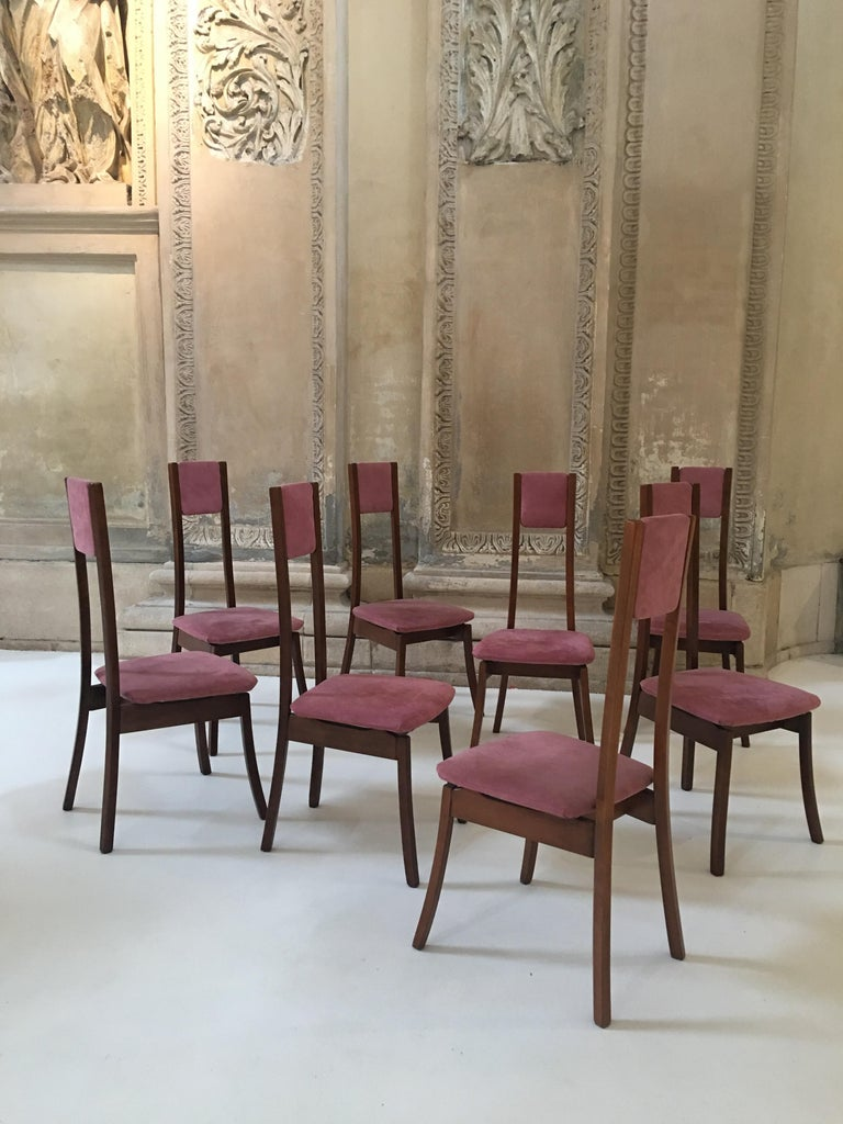 Mid-Century Modern Rare Set of 8 Angelo Mangiarotti Dining Chairs, Mod. S11 For Sale
