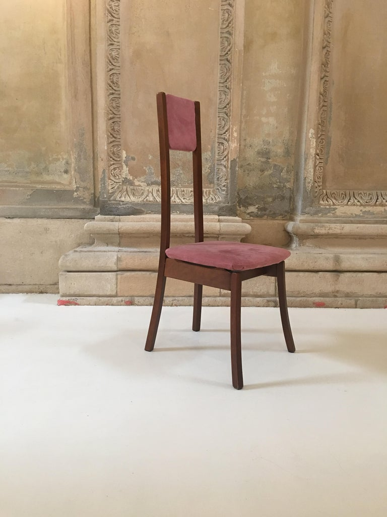 Velvet Rare Set of 8 Angelo Mangiarotti Dining Chairs, Mod. S11 For Sale