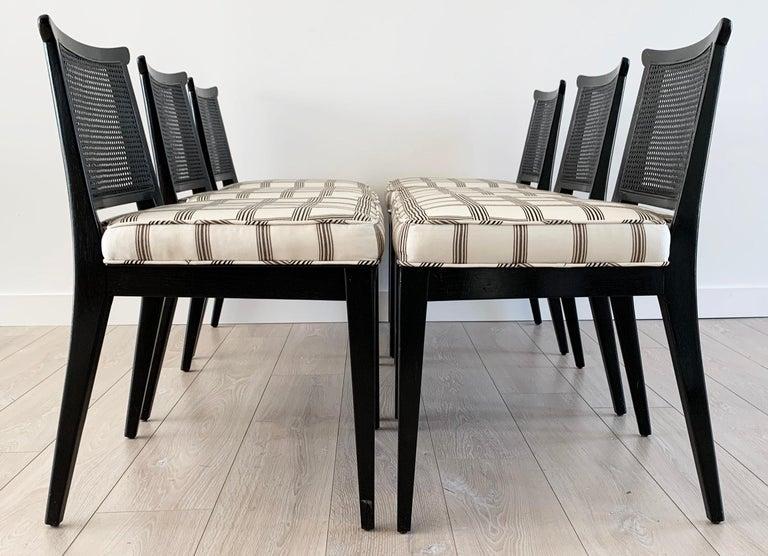 Mid-Century Modern Rare Set of 8 Edward Wormley for Dunbar Ebonized Mahogany Dining Chairs