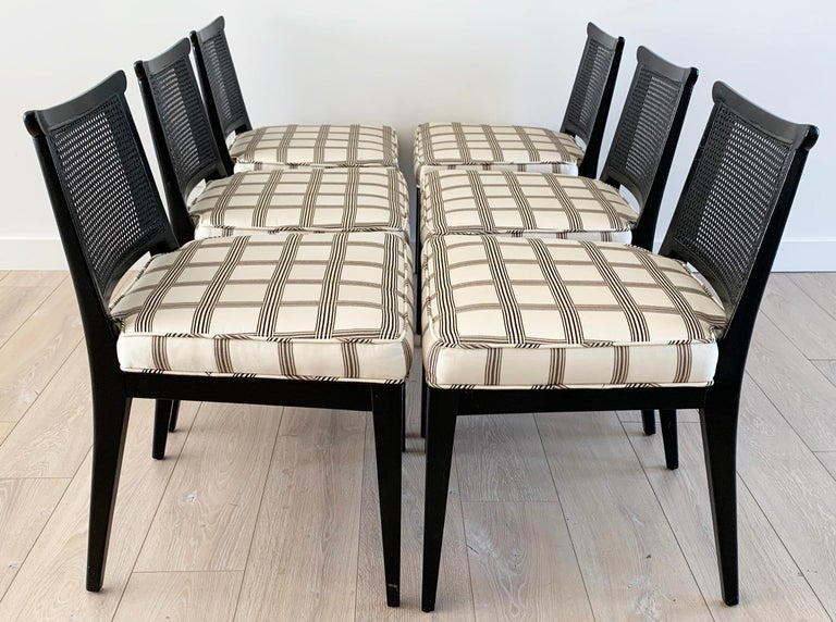 Rare Set of 8 Edward Wormley for Dunbar Ebonized Mahogany Dining Chairs In Good Condition In Tempe, AZ