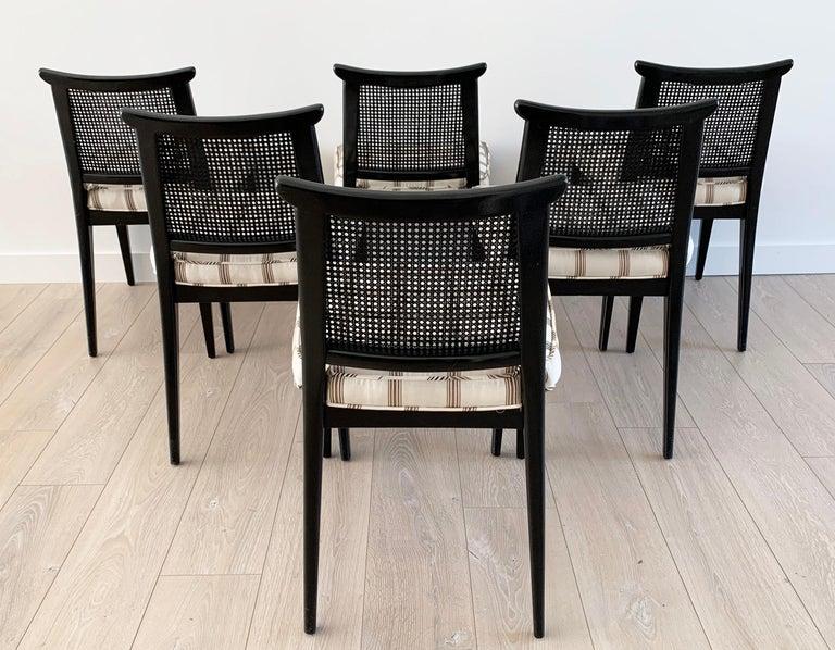 Mid-20th Century Rare Set of 8 Edward Wormley for Dunbar Ebonized Mahogany Dining Chairs