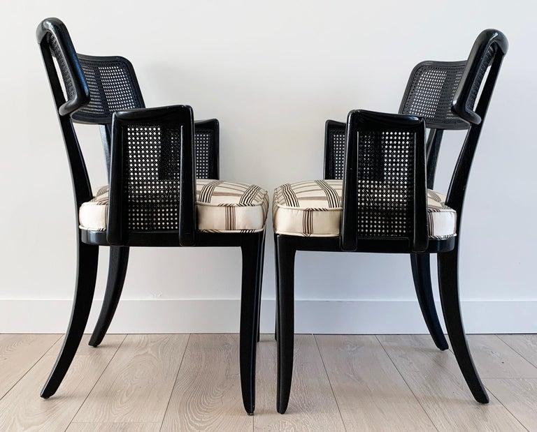 Rare Set of 8 Edward Wormley for Dunbar Ebonized Mahogany Dining Chairs 1