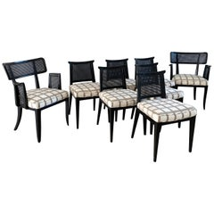 Rare Set of 8 Edward Wormley for Dunbar Ebonized Mahogany Dining Chairs