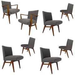 Rare Set of 8 Jens Risom Upholstered and Walnut Dining Chairs Model #205