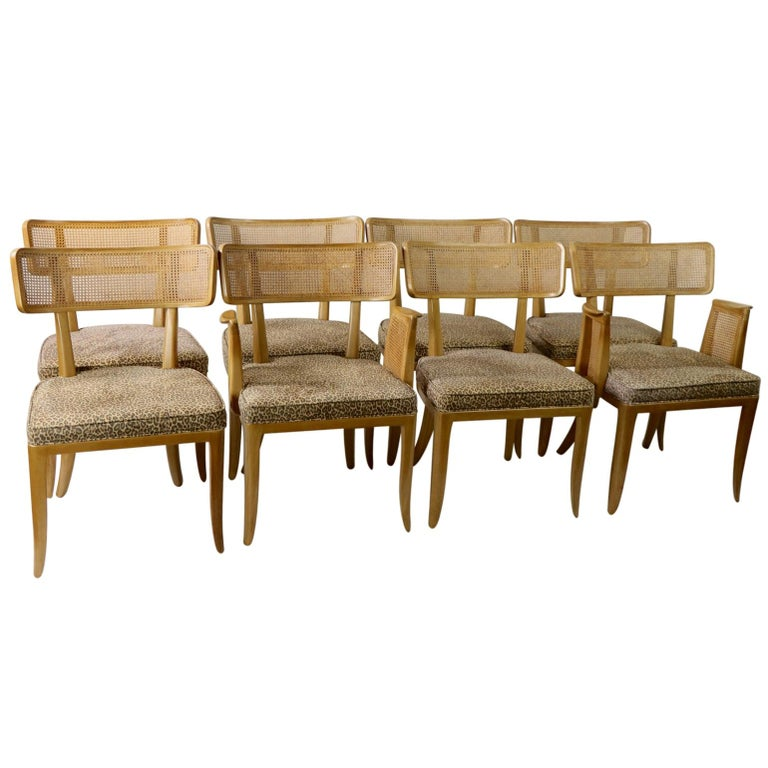 Rare Set of 8 Wormley for Dunbar Dining Chairs