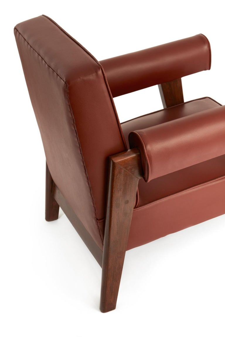 Faux Leather Rare Set of Advocate Armchairs by Le Corbusier and Pierre Jeanneret 'PJ-SI-42-A' For Sale