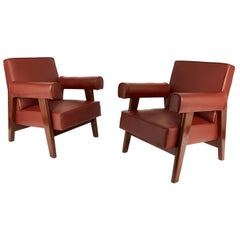 Rare Set of Advocate Armchairs by Le Corbusier and Pierre Jeanneret 'PJ-SI-42-A'