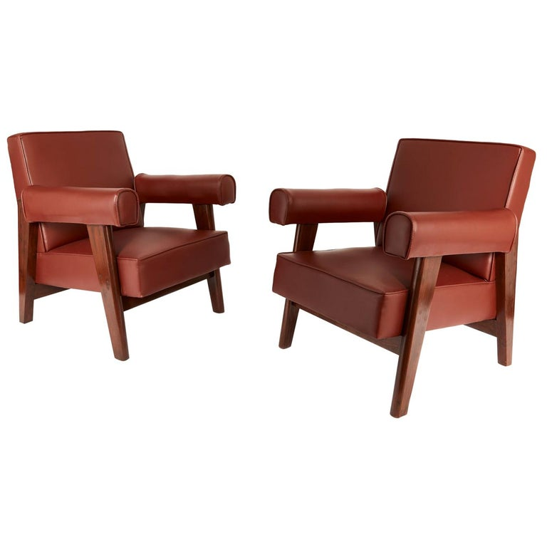 Rare Set of Advocate Armchairs by Le Corbusier and Pierre Jeanneret 'PJ-SI-42-A' For Sale