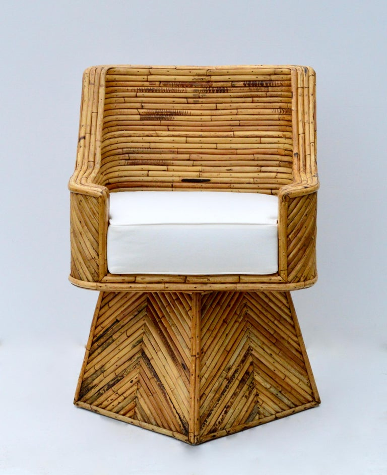 American Rare Set of Bamboo Swivel Chairs For Sale
