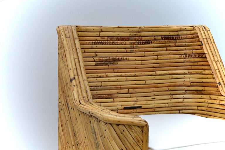Hand-Crafted Rare Set of Bamboo Swivel Chairs For Sale