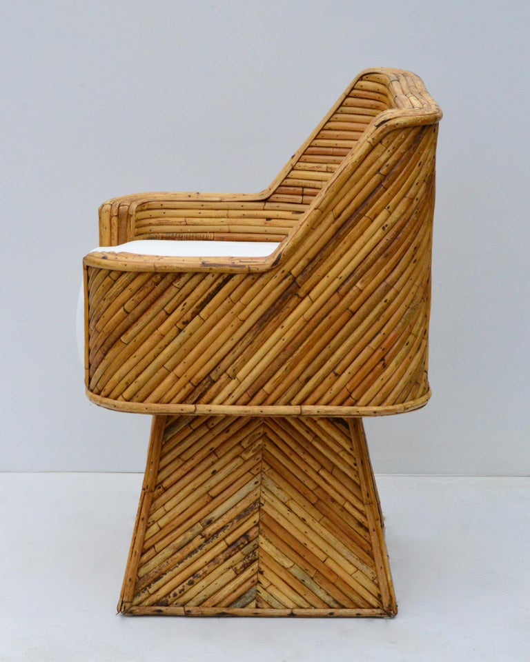 Rare Set of Bamboo Swivel Chairs In Good Condition For Sale In Charlottesville, VA
