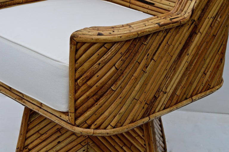 Late 20th Century Rare Set of Bamboo Swivel Chairs For Sale
