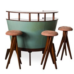 Set of Midcentury brazilian Bar with Benches by Zanine Caldas, 1940s