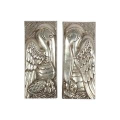 Rare Set of Bruce Cox Art Deco Aluminum Pelican Sculptural Panels