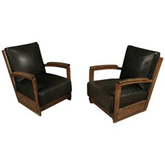 Rare Set of Deco Lounge Chairs in Oak and Leather, from Holland, circa 1950