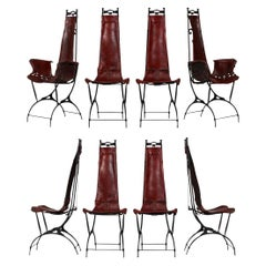 Rare Set of Eight Diniing Chairs by Francois & Sido Thevenin