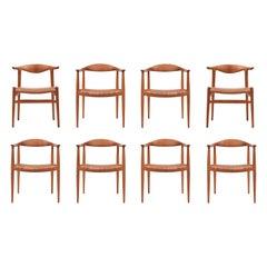 Rare Set of Eight Hans Wegner Chairs for Johannes Hansen