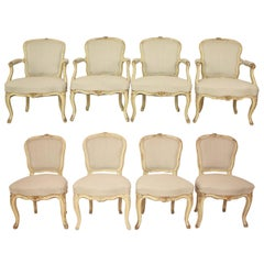 Rare Set of Eight  Louis XV Chairs Stamped J.B. Mouette, circa 1750