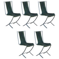 Rare Set of Five Stainless Steel Chairs by Maison Jansen