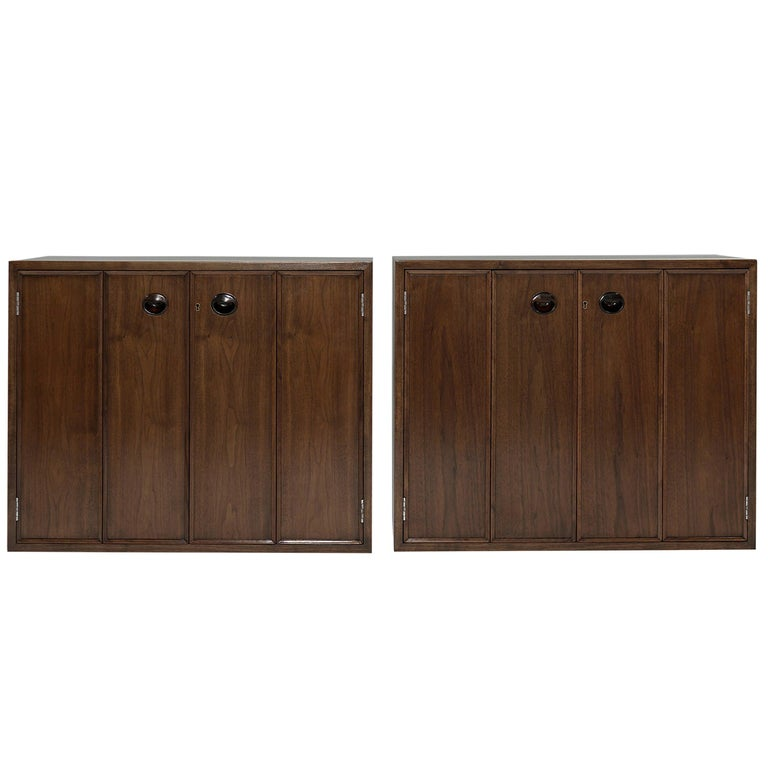 Rare Set of Floating Cabinets by Edward Wormley for Dunbar, circa 1950s For Sale