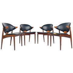 Rare Set of Four Arne Vodder Danish Armchairs in Teak for Vamo Sonderborg
