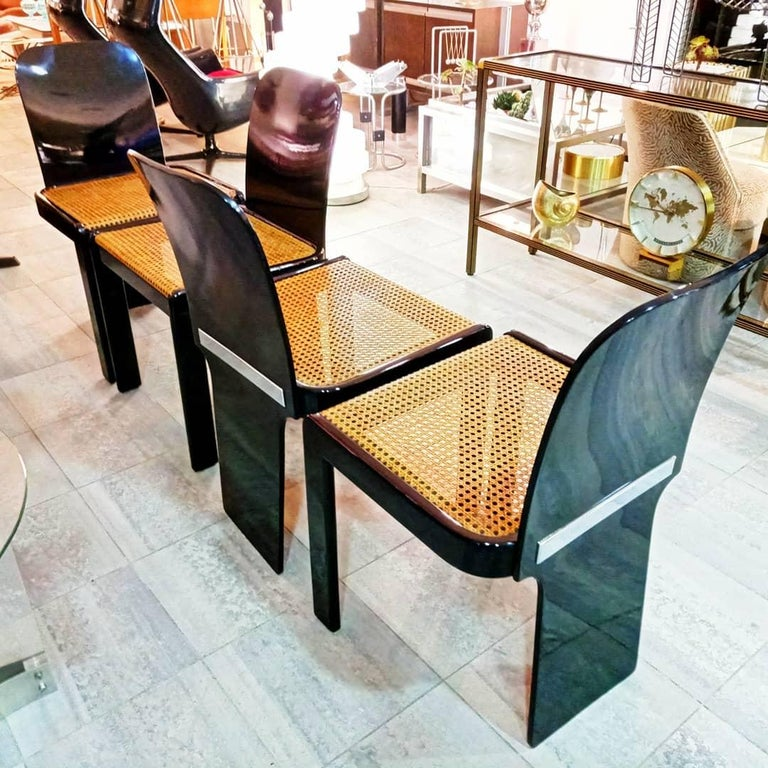 Rare Set of Four Black Lacquer Caned Chairs, Italy, 1970 For Sale 4