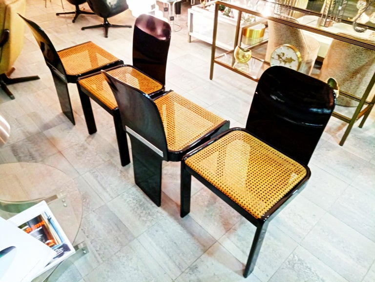 Rare Set of Four Black Lacquer Caned Chairs, Italy, 1970 For Sale 5