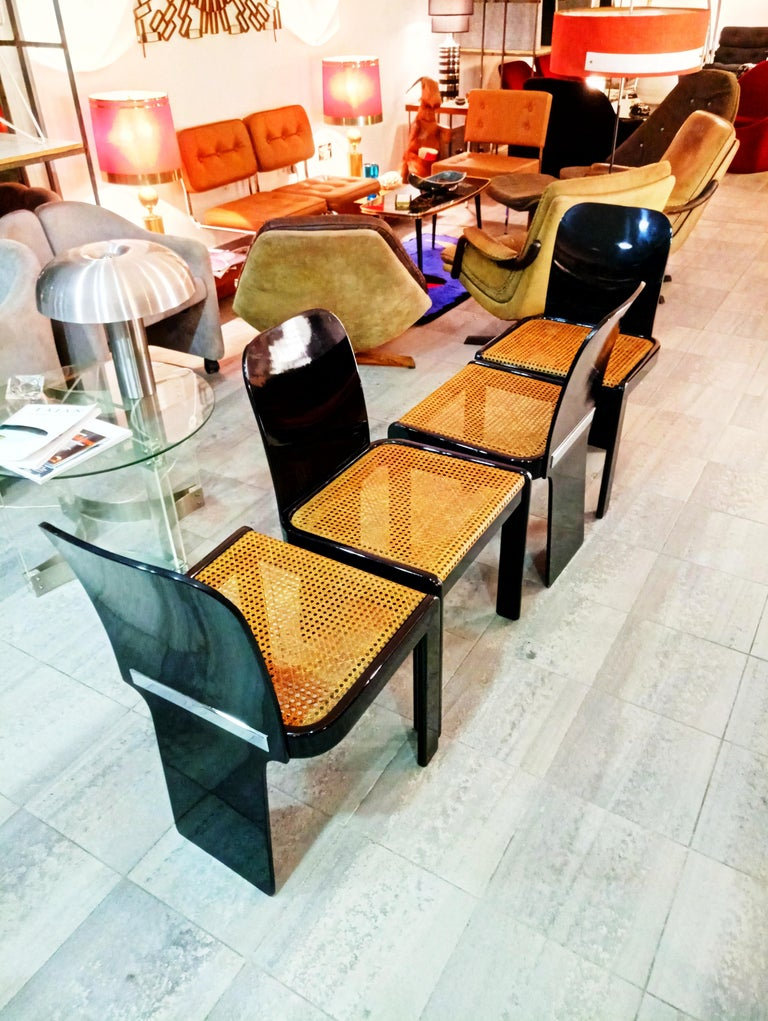 Rare Set of Four Black Lacquer Caned Chairs, Italy, 1970 For Sale 6