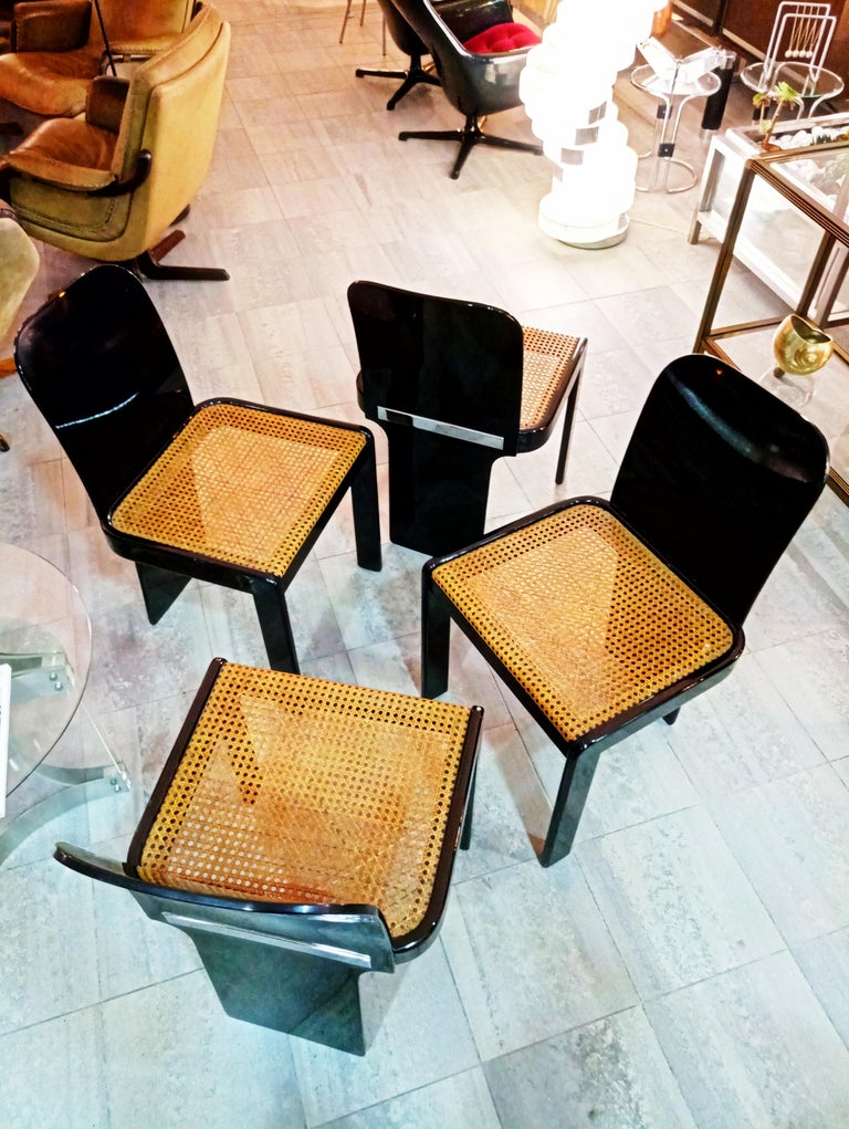 Rare Set of Four Black Lacquer Caned Chairs, Italy, 1970 For Sale 7
