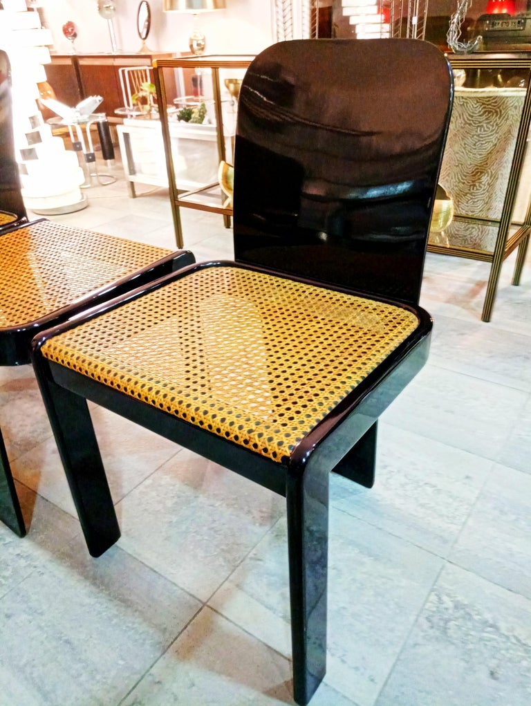 Rare Set of Four Black Lacquer Caned Chairs, Italy, 1970 For Sale 8