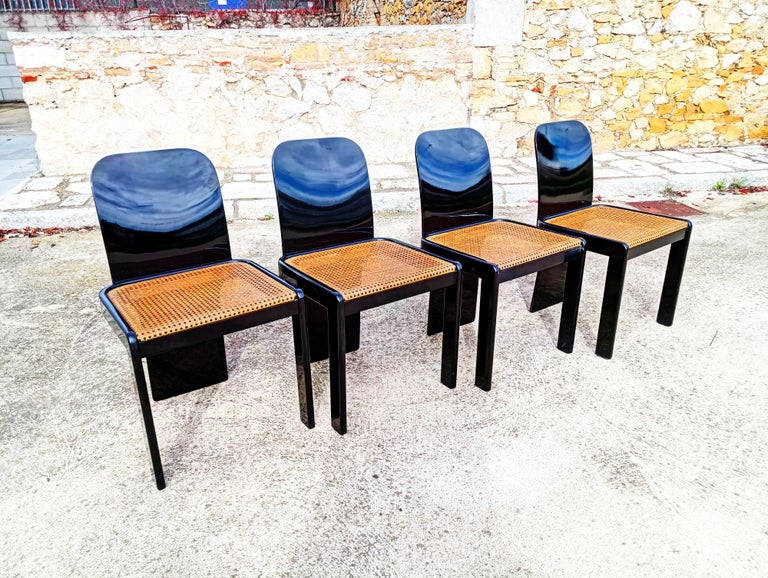 European Rare Set of Four Black Lacquer Caned Chairs, Italy, 1970 For Sale