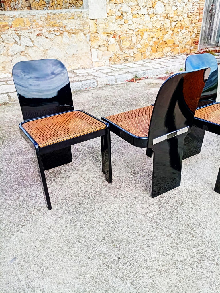 Rare Set of Four Black Lacquer Caned Chairs, Italy, 1970 In Good Condition For Sale In L'Escala, ES