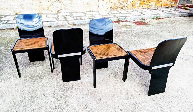 20th Century Rare Set of Four Black Lacquer Caned Chairs, Italy, 1970 For Sale