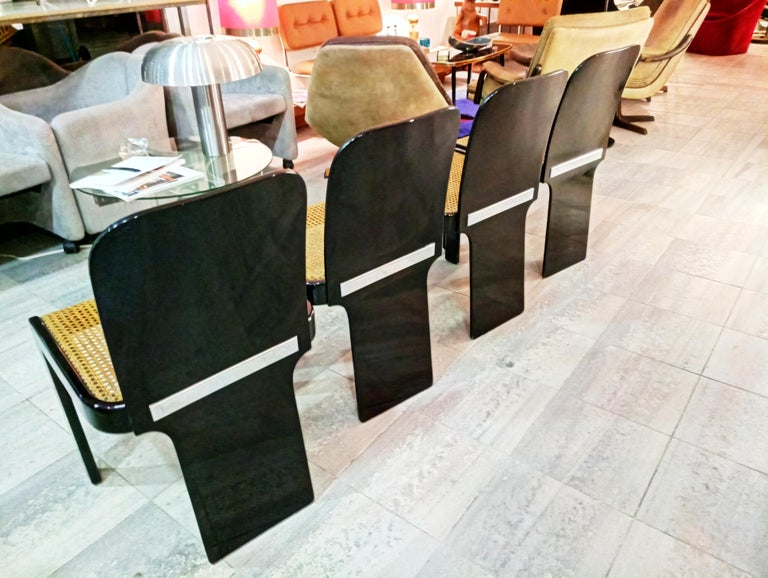Rare Set of Four Black Lacquer Caned Chairs, Italy, 1970 For Sale 1