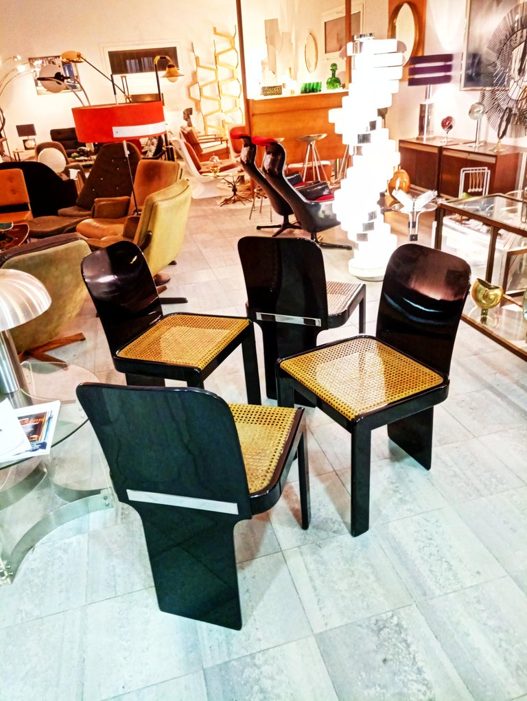Rare Set of Four Black Lacquer Caned Chairs, Italy, 1970 For Sale 2