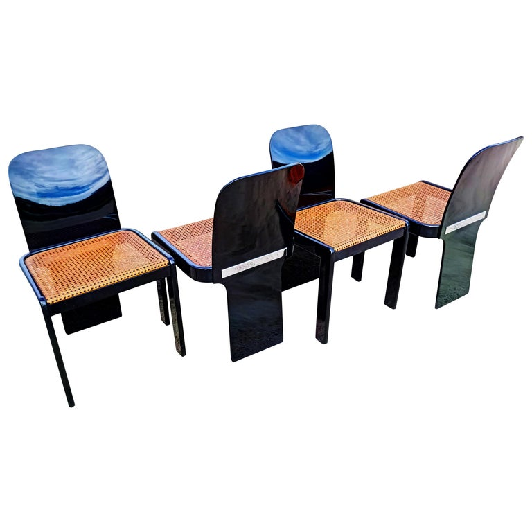 Rare Set of Four Black Lacquer Caned Chairs, Italy, 1970 For Sale