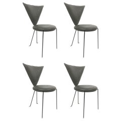 Rare Set of Four Black Leather and Painted Steel Chairs by Helmut Lubke & Co