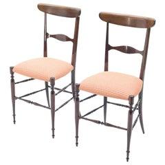 Rare Set of Four Campanino Chiavari Walnut Chairs by Fratelli Levaggi, 1950