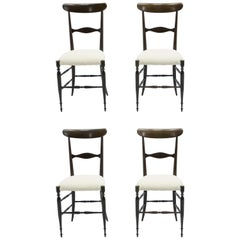 Rare Set of Four Campanino Chiavari Walnut Chairs by Fratelli Levaggi, 1950