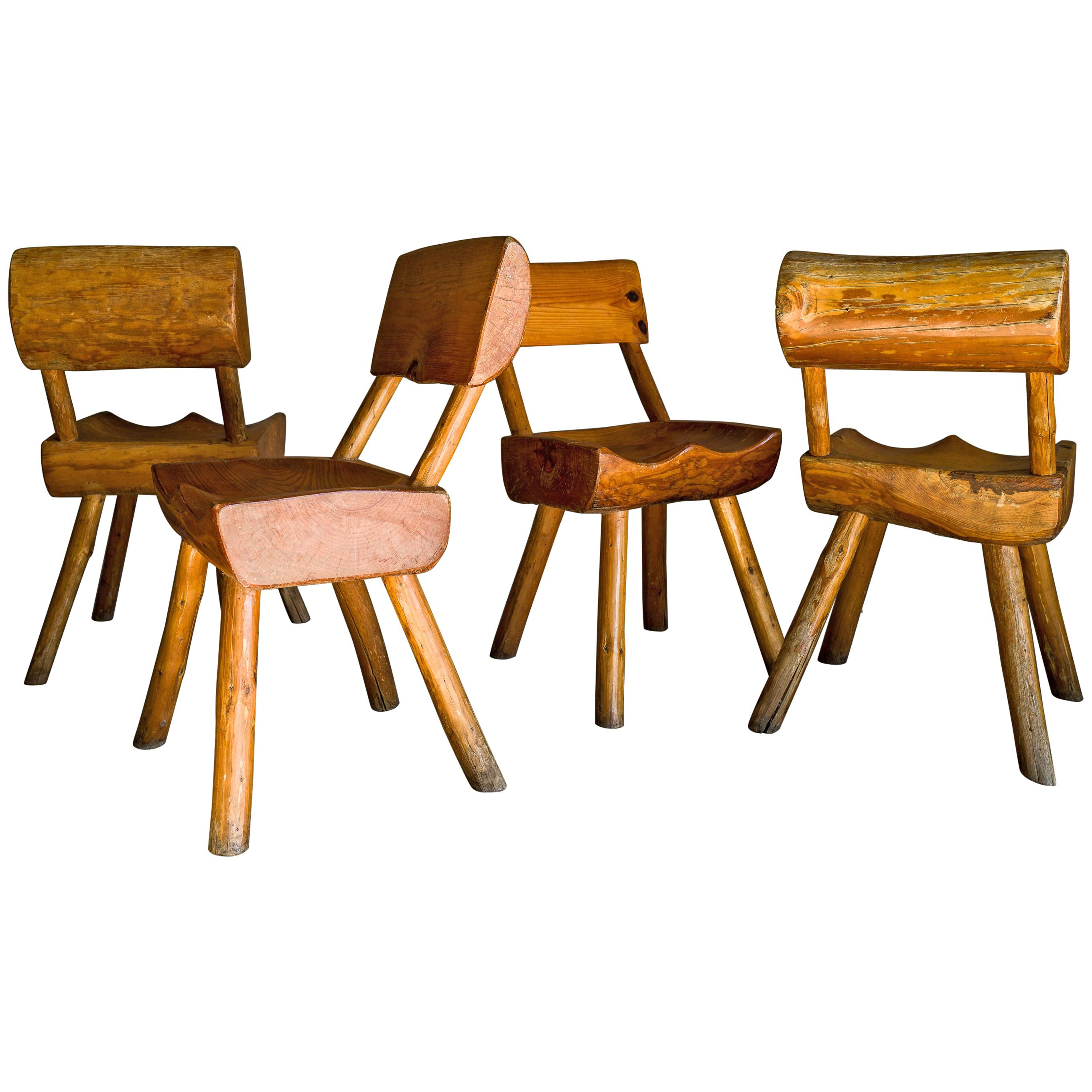 Rare Set of Four Carved Pine Chairs, circa 1960
