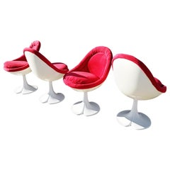 "Rare Set of Four Christian Adam Swivel ""Egg"" Chairs, 1970s"