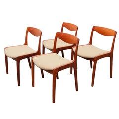 Rare Set of Four Dining Chairs by Vilhelm Wohlert for P. Jeppesen in Teak, 1956