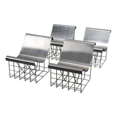 Rare Set of Four Metal Chauffeuses by Patrick Gingembre