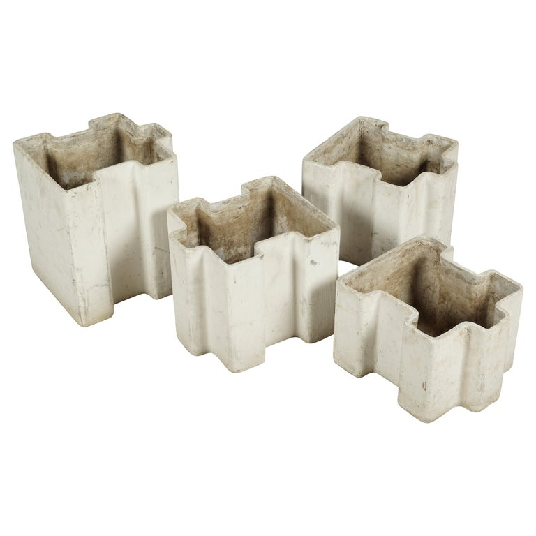 """Rare Set of Four """"Puzzle"""" Planters Designed by Willy Guhl, Switzerland, 1950"""