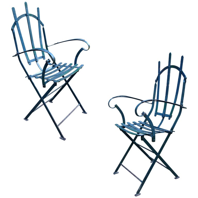 Rare Set of Four Steel Garden Chairs, Early 20th Century