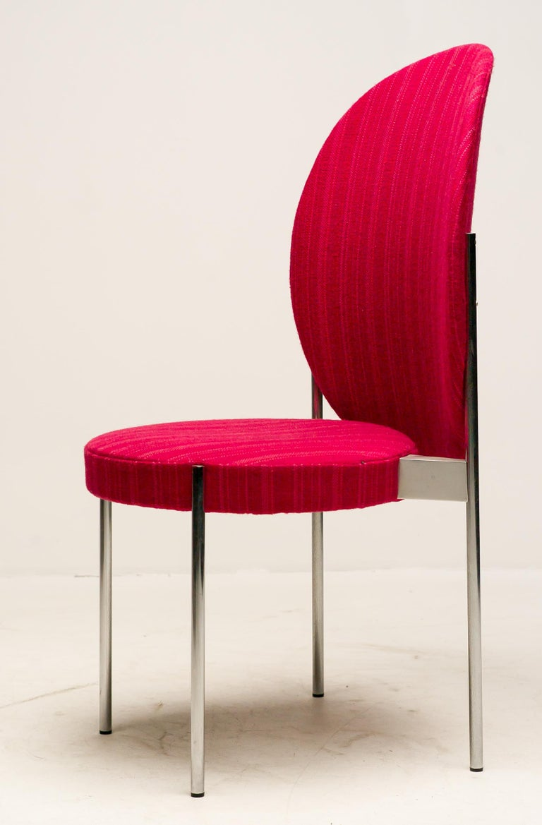 Rare set of four model no. 430 high back chairs by Verner Panton, 1967 for Thonet, Germany. Tubular steel frame, plywood, upholstered with beautiful red wool. Marked with Thonet plaque, produced only for a very short period in the late 1960s.