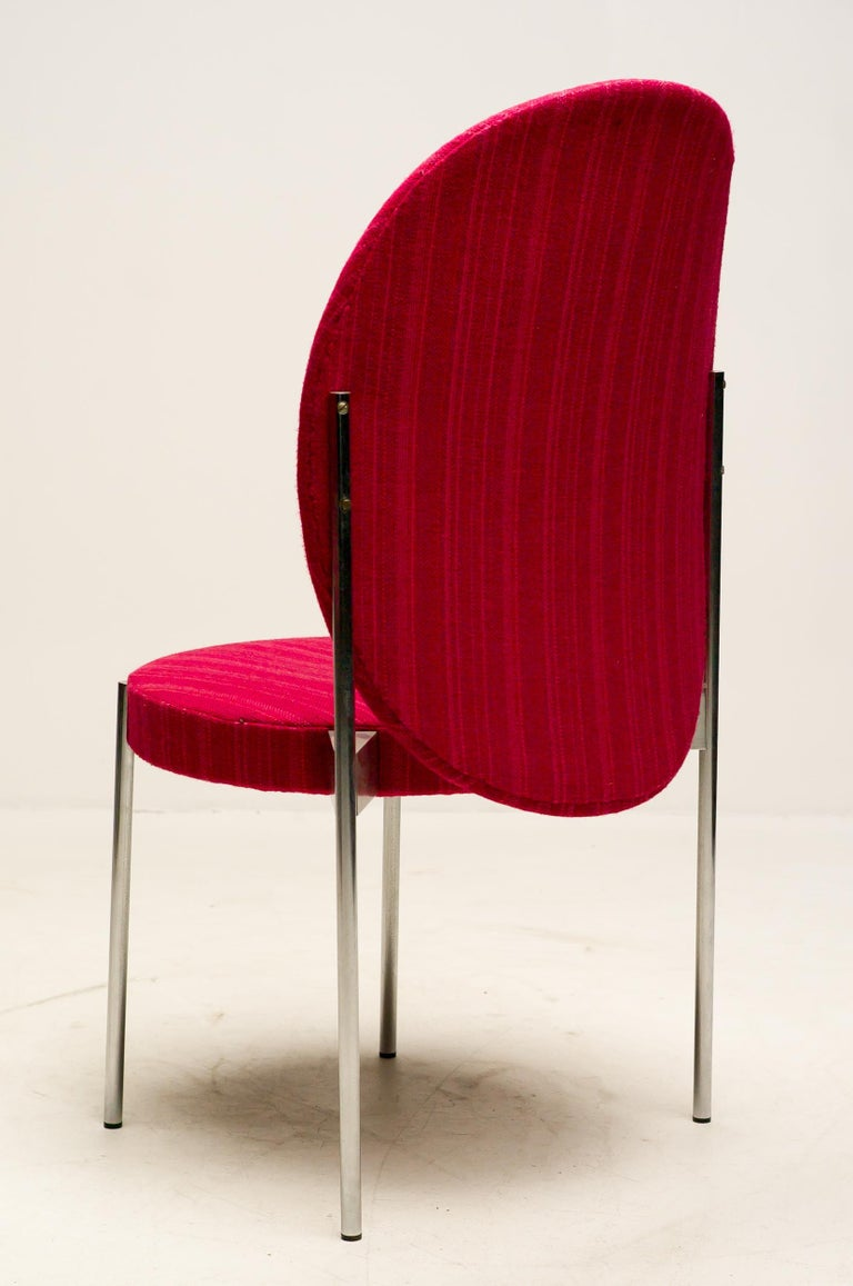 Scandinavian Modern Rare Set of Four Verner Panton High Back Dining Chairs For Sale